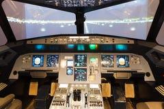 飞行防真器驾驶舱 图库摄影