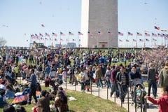 飞行风筝的成人和孩子大人群在全国购物中心的风筝节日 免版税库存图片