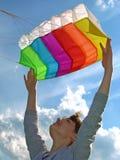 飞行风筝起始时间 免版税库存照片