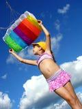飞行风筝起始时间 免版税库存图片