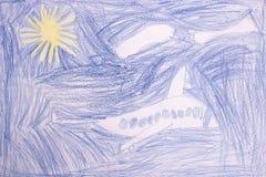 飞行飞机, childs画 免版税库存图片