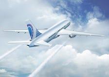 在云彩之上的飞机 免版税图库摄影