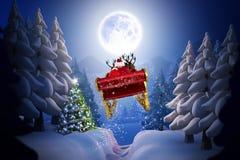 飞行他的雪橇的圣诞老人的综合图象 库存例证