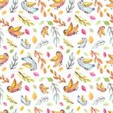 飞行滑稽的鸟、树枝和叶子重复样式的水彩 免版税库存照片