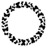 飞行蝴蝶圆的框架  免版税库存图片