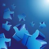 飞行3d喜欢在蓝色背景的标志 库存照片