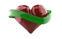 飞行3d红色砍了与绿色rubbon的心脏 文本的Copyspace 免版税图库摄影