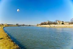 飞行st sta维斯瓦河的气球大道 免版税库存图片