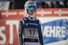 飞行Vikersund (挪威) 2015年2月14日的WC滑雪(从第2个一半 免版税库存图片