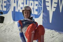 飞行Vikersund (挪威) 2015年2月14日的WC滑雪(从第2个一半 免版税图库摄影
