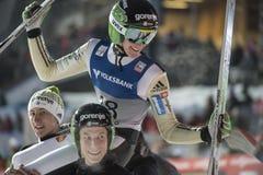 飞行Vikersund (挪威) 2015年2月14日的WC滑雪(从第2个一半 免版税库存照片