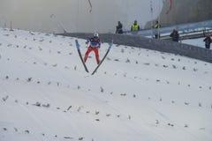 飞行Vikersund (挪威) 2015年2月14日的WC滑雪 免版税库存图片