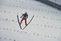 飞行Vikersund (挪威) 2015年2月14日的WC滑雪 图库摄影
