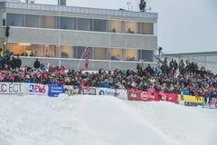 飞行Vikersund (挪威) 2015年2月14日的WC滑雪 库存图片