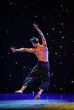 飞跃在爱现代舞蹈的后面的树 库存图片
