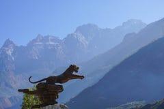 飞跃峡谷的老虎在丽江,云南,中国 库存照片