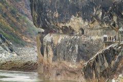 飞跃峡谷的老虎 免版税图库摄影