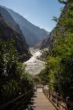 飞跃峡谷香格里拉瓷的老虎 免版税库存照片