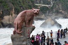 飞跃tiao老虎的峡谷hu 图库摄影