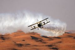 飞过一架双翼飞机的步行者在沙漠 库存图片