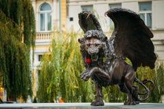 飞过的狮子纪念品在布拉格捷克 免版税库存照片