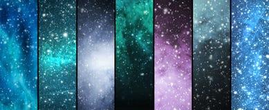 飞雪、雪花、宇宙和星 免版税库存照片