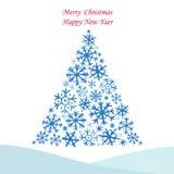 飞雪圣诞节画作用毛皮的雪花结构树 库存图片