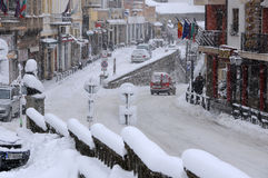 飞雪在大特尔诺沃 免版税库存图片