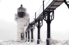 飞雪在st的约瑟夫灯塔 库存照片