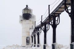 飞雪在st的约瑟夫灯塔 免版税库存图片