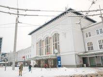 飞雪结冰在`萨尔茨堡HBF/Austria - 02-13-2018的冬天季节` 免版税库存照片