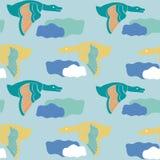 飞鸟,在一个五颜六色的无缝的样式设计 向量例证