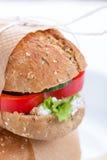 素食三明治用红色辣椒粉、黄瓜、letucce和酸奶干酪 免版税库存照片