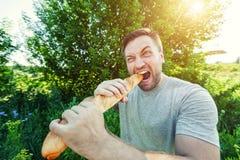 食人的法国面包 免版税图库摄影
