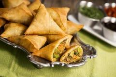 素食印地安人Samosas 免版税库存图片