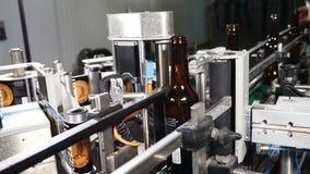 食品工业 自动啤酒装瓶专线 运用标签 黏贴的标签机器啤酒瓶的 4K 股票录像