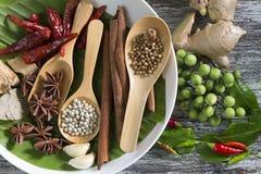 食品成分、胡椒、八角、辣椒和姜在木桌上 免版税库存图片