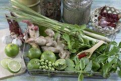 食品成分姜、八角、辣椒和火鸡莓果在木桌上 免版税库存照片