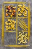 食品成分背景  另外种类意大利面食 Macaro 库存照片