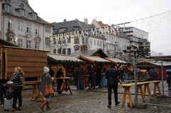 食品项目在圣诞节市场上 库存图片