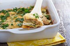 素食夏南瓜和乳清干酪烘烤 免版税库存图片