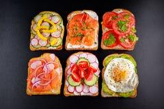 素食多士三明治品种与三文鱼, raddish,蕃茄、黄瓜、鲕梨、煎蛋和甜椒的 免版税库存照片