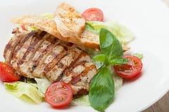 食家与烤肉内圆角,西红柿的凯萨色拉, 免版税库存图片
