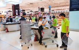 食家市场,泰国模范购物中心在曼谷 免版税库存照片