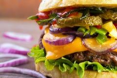 食家汉堡特写镜头 库存照片