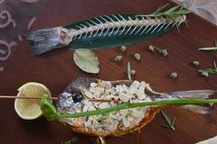 食家餐馆食物-可口熏制鲑鱼和菜沙拉 豪华开胃菜餐馆食物 图库摄影