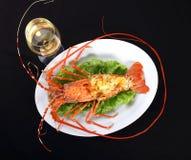 食家龙虾晚餐用白葡萄酒 库存图片