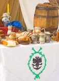 食物中世纪酒 免版税库存图片