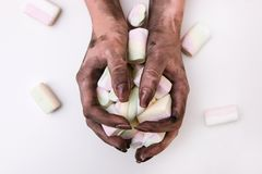 食物中毒肮脏的手卫生学毒菌 库存照片