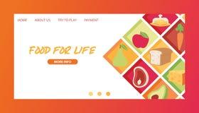 食物传染媒介登陆的页膳食菜果子和鱼香肠在超级市场或杂货例证网站上  库存例证